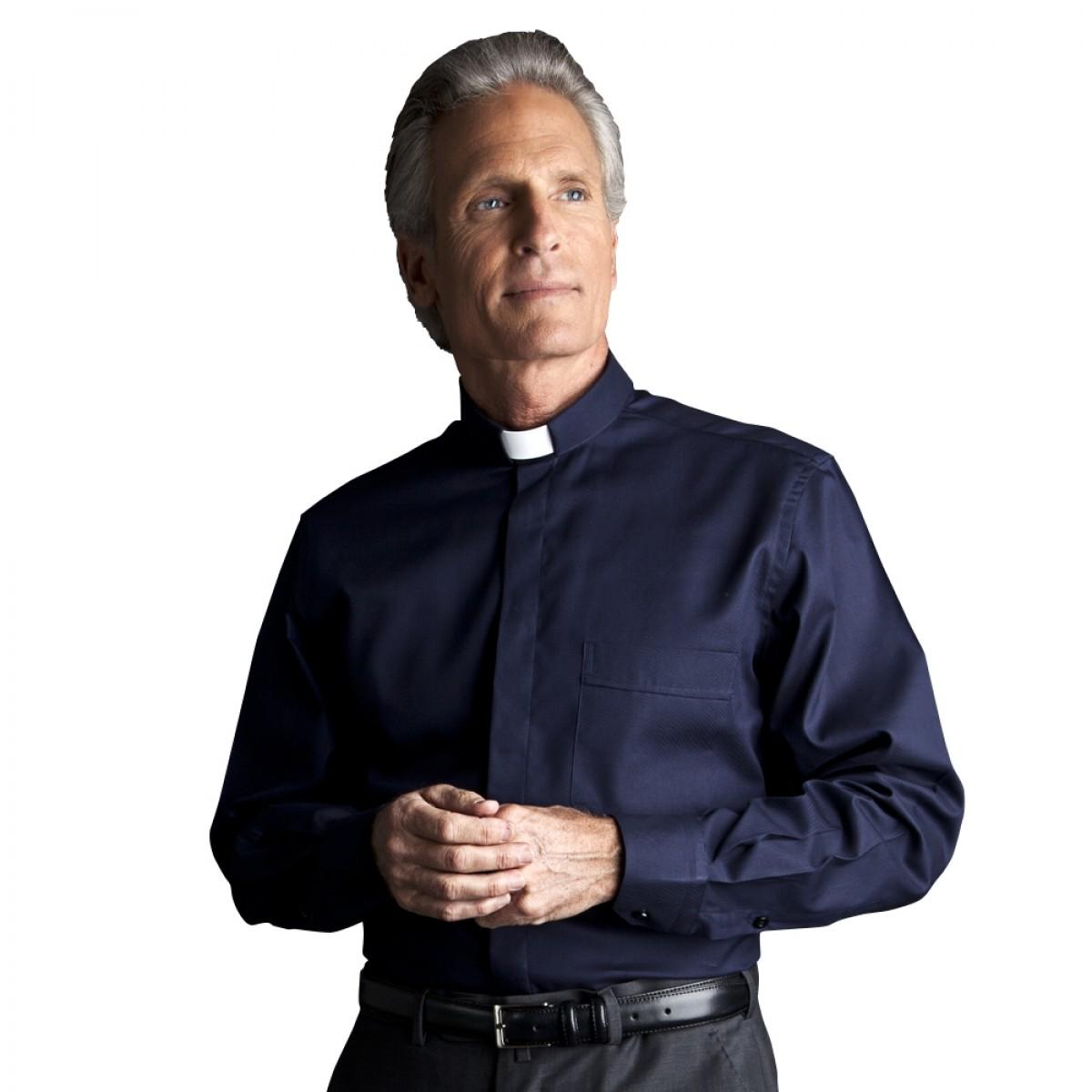 Camicia Clergy Facile Stiro Rigato manica lunga misto cotone - art. 213