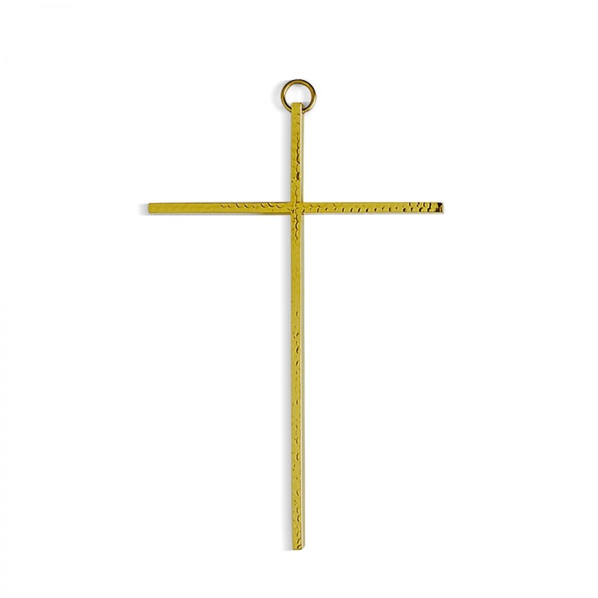 Croce da appendere martellata - art. C. N 12 M - finitura dorata