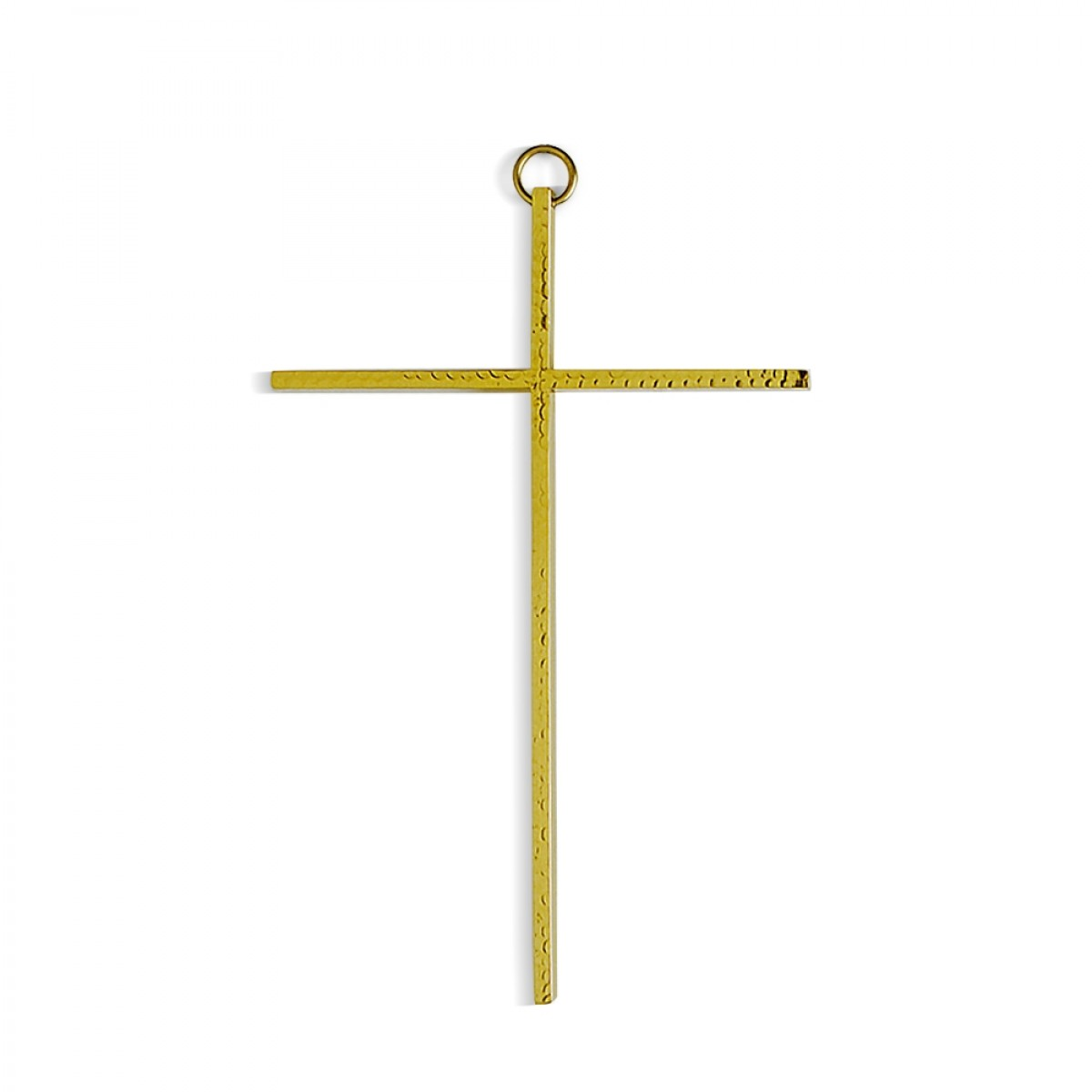 Croce da appendere martellata - art. C. N 8 M - finitura dorata