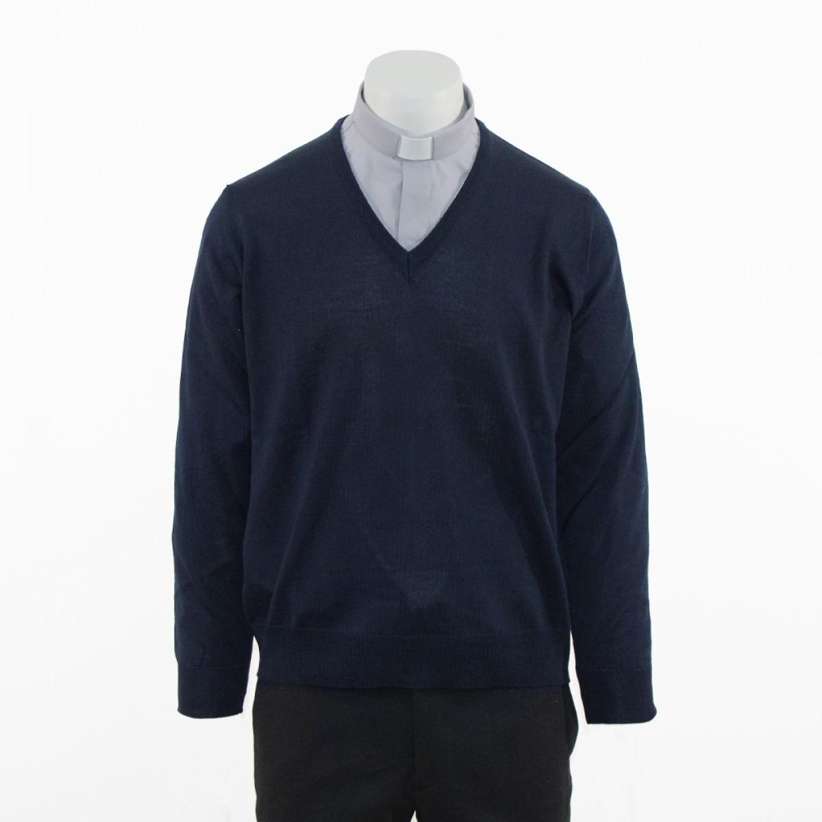 Pullover uomo con collo a V manica lunga in pura lana Lanerossi